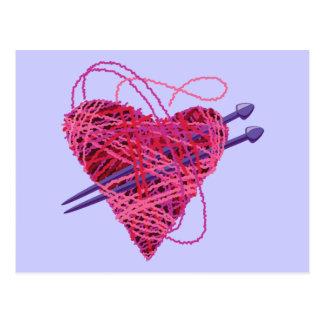 corazón kniting postal