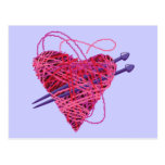 corazón kniting tarjetas postales