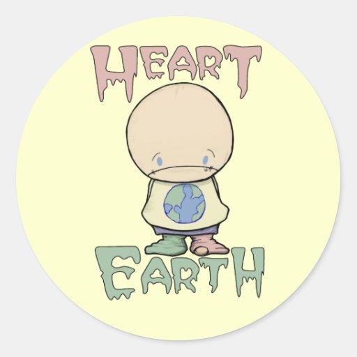 Corazón la tierra pegatina redonda