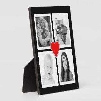 Corazón lindo con cuatro fotos de encargo placas de madera