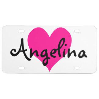 Corazón lindo de color rosa oscuro personalizado placa de matrícula