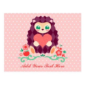 Corazón lindo de Hedgie - postal de encargo