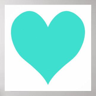 Corazón lindo de la turquesa póster