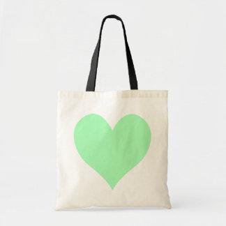 Corazón lindo de la verde menta bolsa