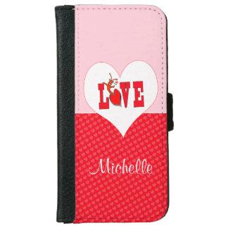 Corazón lindo del amor de la langosta de los funda cartera para iPhone 6