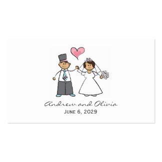 Corazón lindo del amor del novio de la novia de tarjetas de visita