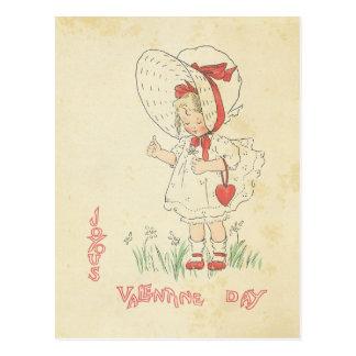 Corazón lindo del chica del vintage de los saludos tarjetas postales