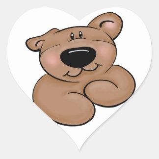 Corazón lindo del oso de peluche pegatina en forma de corazón