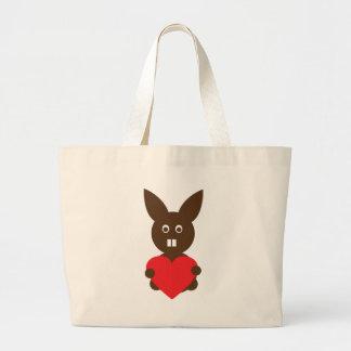 corazón lindo del rojo del conejito bolsas