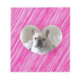 Corazón lindo del rosa del dogo francés bloc de notas