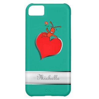 Corazón lindo personalizado de Lobser de los cangr Funda Para iPhone 5C