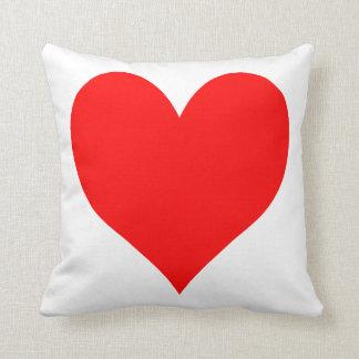 Corazón lindo rojo brillante sólido almohada