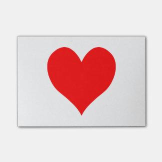 Corazón lindo rojo brillante sólido notas post-it