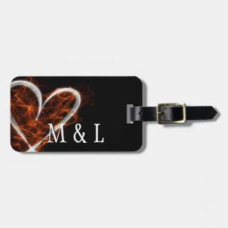 Corazón llameante adaptable etiquetas maletas