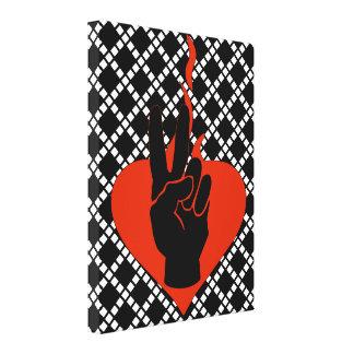 Corazón llameante de la paz impresiones en lienzo estiradas