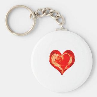 Corazón llameante llavero personalizado