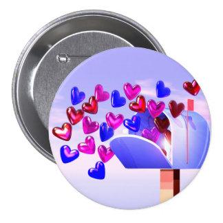 Corazón Mail2 de la tarjeta del día de San Valentí Pin Redondo De 3 Pulgadas