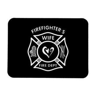 Corazón maltés de la esposa de los bomberos imanes rectangulares