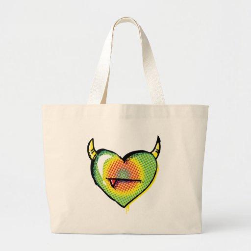 Corazón malvado del arco iris bolsas