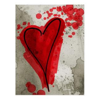 Corazón manchado de tinta rojo tarjetas postales