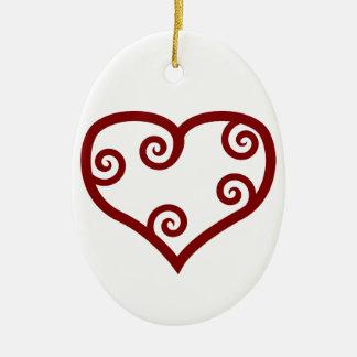 Corazón maorí rojo del el día de San Valentín del Ornamentos De Navidad