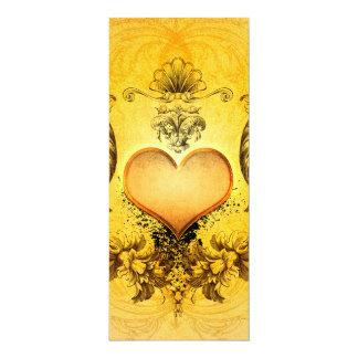 """Corazón maravilloso con los elementos florales invitación 4"""" x 9.25"""""""