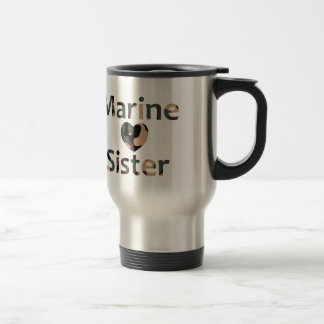Corazón marino Camo de la hermana Taza Térmica