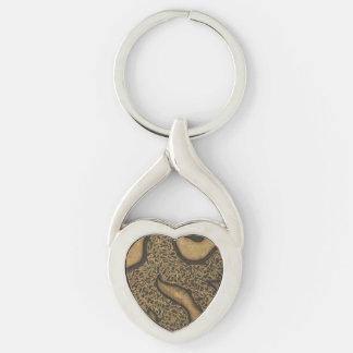 Corazón marrón claro del diseño de la tinta llavero plateado en forma de corazón
