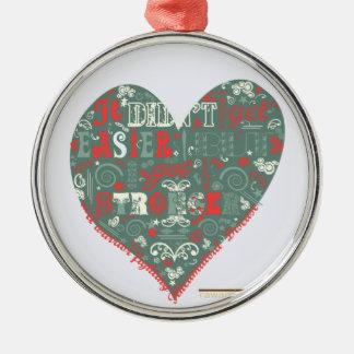 Corazón - más fuerte adorno navideño redondo de metal
