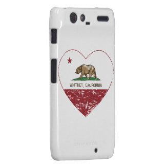 corazón más whittier de la bandera de California a Motorola Droid RAZR Carcasas