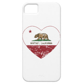 corazón más whittier de la bandera de California a iPhone 5 Cárcasas