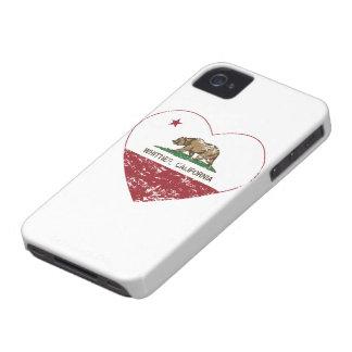corazón más whittier de la bandera de California a iPhone 4 Case-Mate Funda