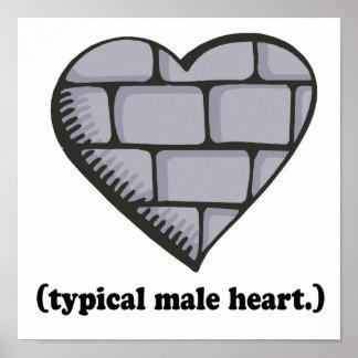 corazón masculino típico de la pared de ladrillo póster