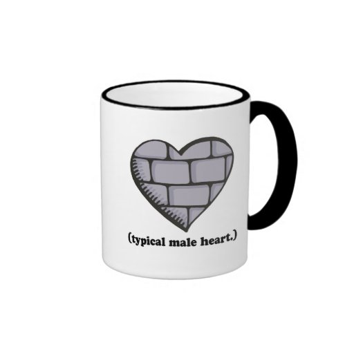 corazón masculino típico de la pared de ladrillo taza
