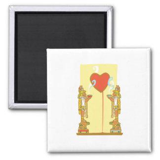 Corazón maya imán cuadrado