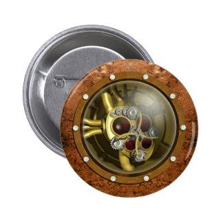 Corazón mecánico de Steampunk Pin Redondo De 2 Pulgadas