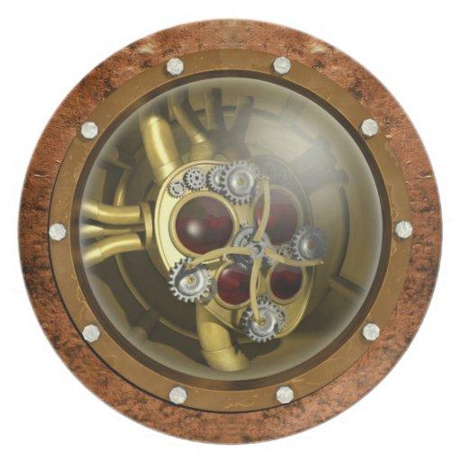 Corazón mecánico de Steampunk Platos