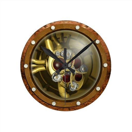 Corazón mecánico de Steampunk Reloj Redondo Mediano