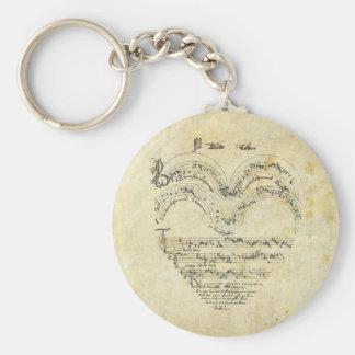 Corazón medieval del manuscrito llavero redondo tipo pin