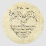 Corazón medieval del manuscrito pegatinas redondas