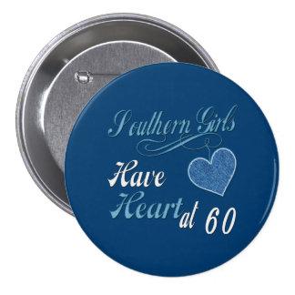 Corazón meridional 60.o de los chicas pin redondo de 3 pulgadas