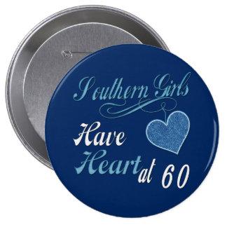 Corazón meridional 60.o de los chicas pin redondo de 4 pulgadas