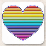 Corazón metálico del arco iris posavasos