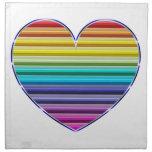 Corazón metálico del arco iris servilletas de papel