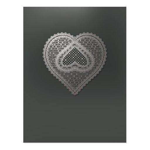 Corazón metálico del cordón en el nr gris oscuro 1 postal
