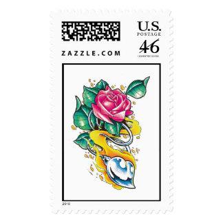 Corazón metálico fresco y sello color de rosa del