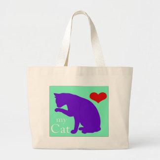 Corazón mi gato #2 bolsa tela grande