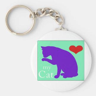 Corazón mi gato #2 llavero redondo tipo pin