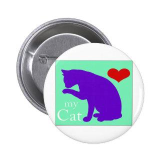 Corazón mi gato #2 pin redondo de 2 pulgadas