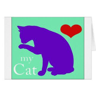 Corazón mi gato #2 tarjeta de felicitación